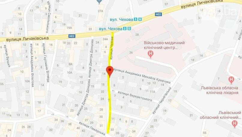 Вулиця Чехова у Львові на карті