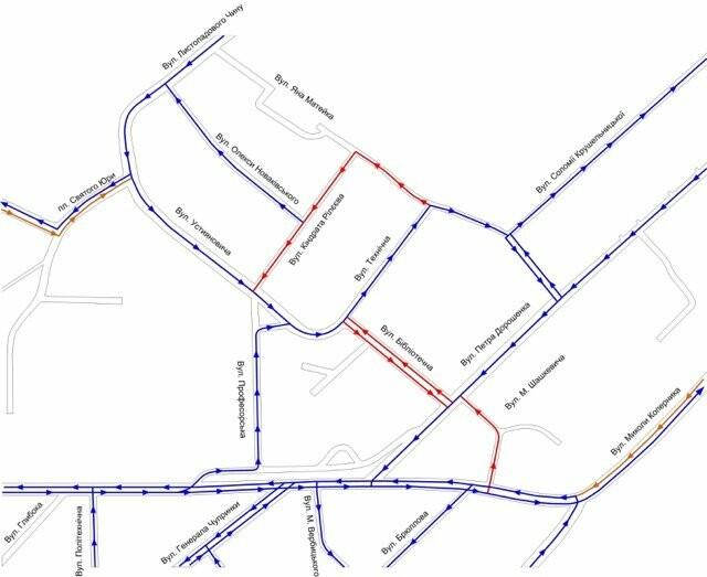 Нова схема руху. Синій колір: напрямки руху, які лишають без змін. Помаранчевий: де курсуватиме лише громадський транспорт. Червоний: ділянки, де запровадять нову схему руху