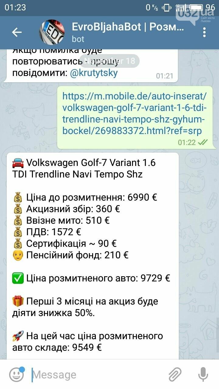 Калькулятор для євроблях: у Телеграмі з'явився бот, який допомагає дізнатися вартість розмитнення авто, фото-16