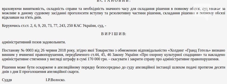 """Суд дозволив депутату Козловському не платити 170 тисяч штрафу за надбудову в """"Гранд готелі"""", фото-1"""