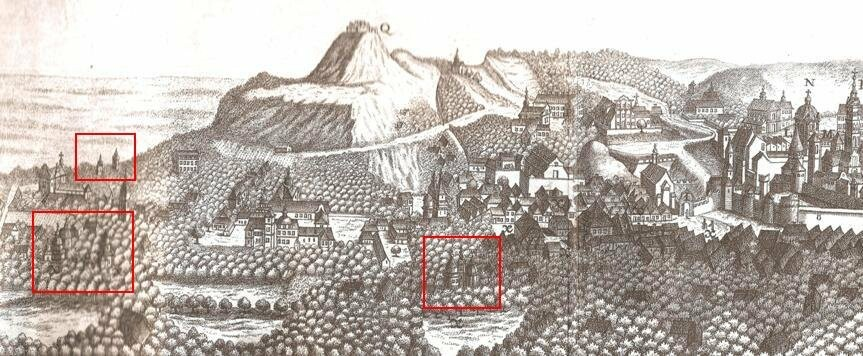 Дерев'яні церкви Львова, карта Пернера