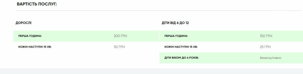 """Ціни на SPA-послуги у гірськолижному комплексі """"Плай"""", Скріншот - 032.ua"""
