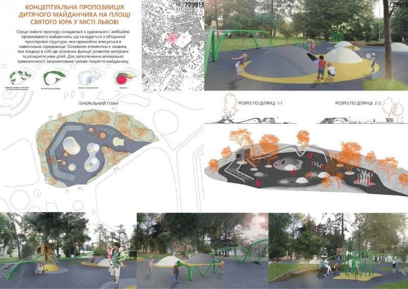 Як виглядатиме дитячий майданчик на площі Святого Юра в майбутньому: візуалізація, фото-1, фото: прес-служба ЛМР
