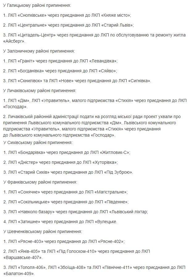 Список комунальних підприємств, які припиняють свою діяльність