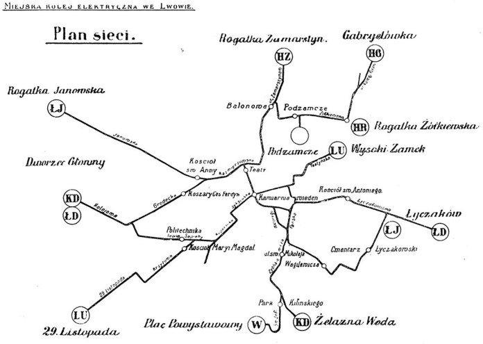 Схема трамвайних ліній Львова 1911 року. Із колекції трамвайного депо № 1 / Фото: з вільних джерел