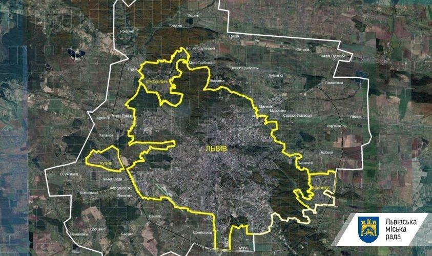 Карта Львова та сусідних міст та сіл / пресслужба Львівської міської ради