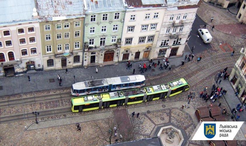 Фото: трамваї на площі Ринок / пресслужба ЛМР