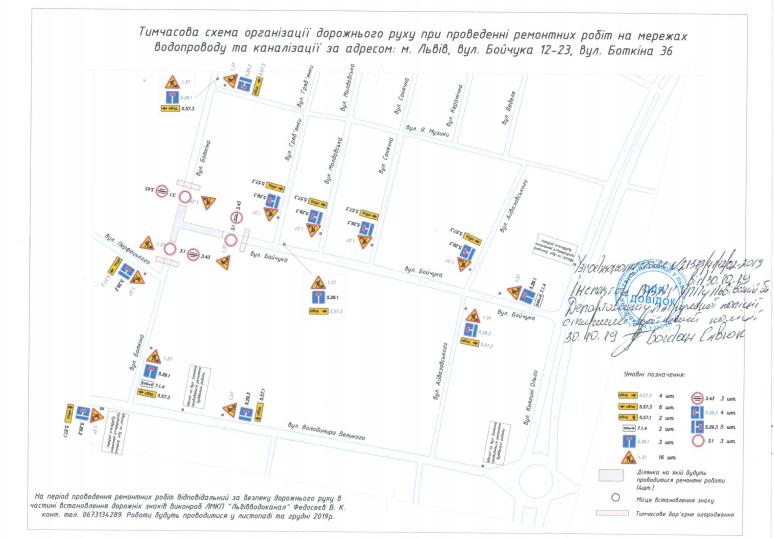 Фото: схема об'їзду на перехресті вул. М. Бойчука — вул. С. Боткіна