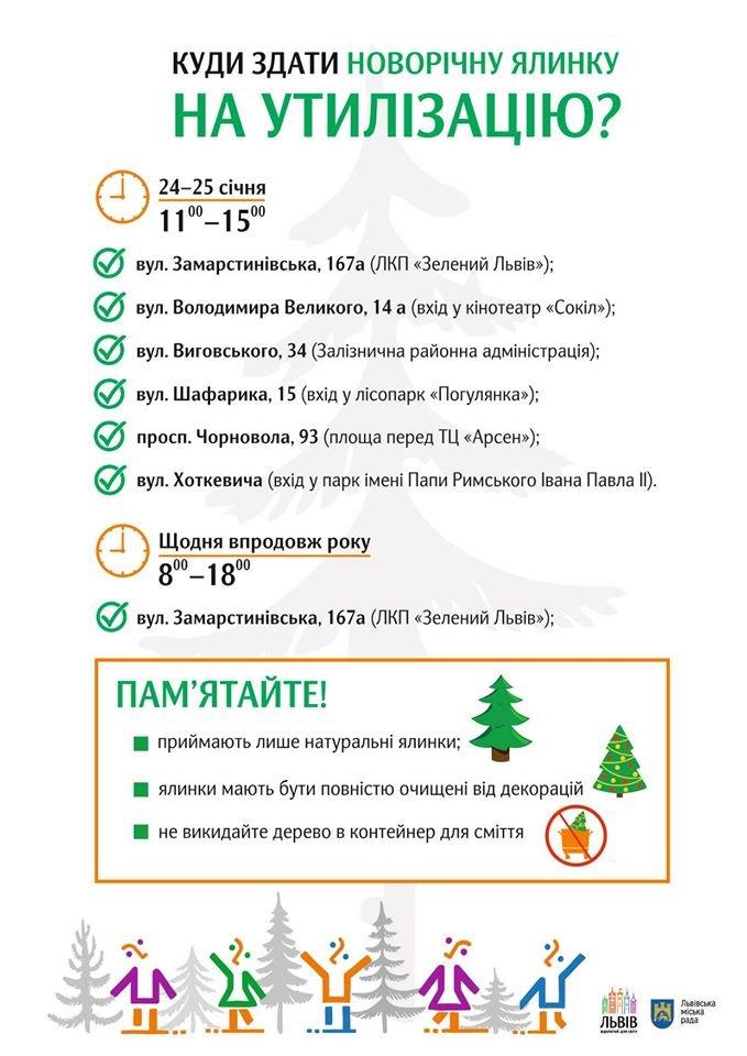 Фото: адреси, куди здати ялинку у Львові / пресслужба ЛМР