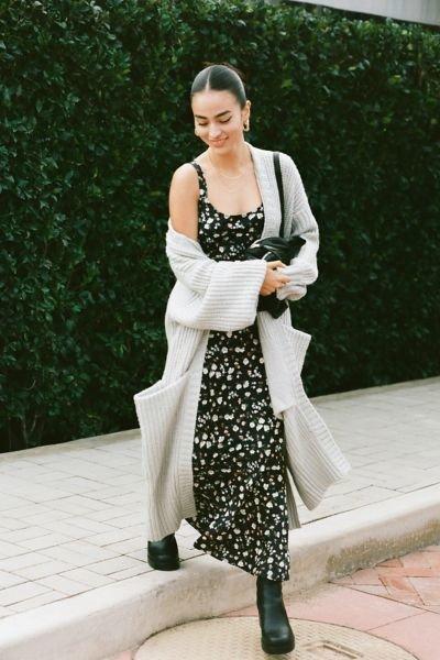 Денний образ з шовковою сукнею.Фото - pinterest.com