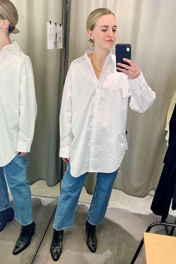 Трендовий образ з джинсами та сорочкою.Фото - pinterest.com