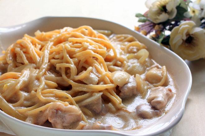 Фото: Спагеті з куркою у вершковому соусі / stravy.net