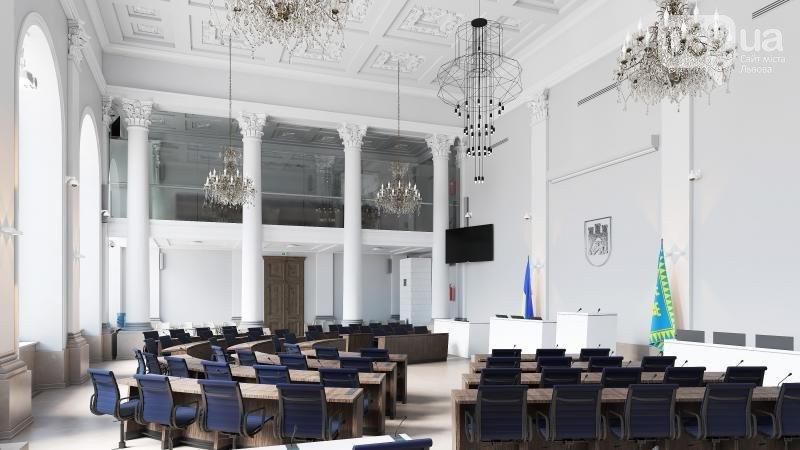 Візуалізація вигляду сесійної зали в Ратуші. Фото - ЛМР