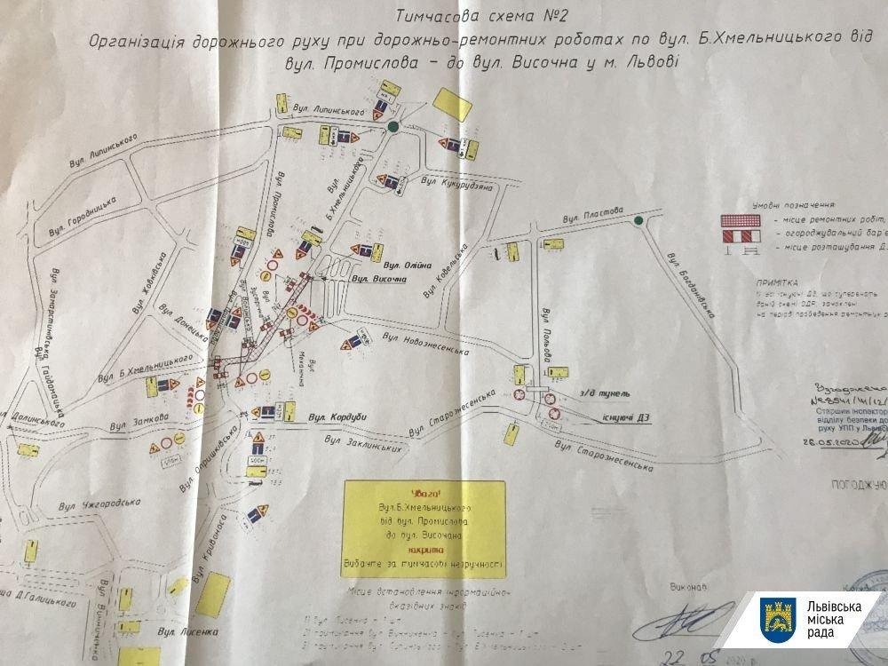 Схема об'їзду вулиці Хмельницького
