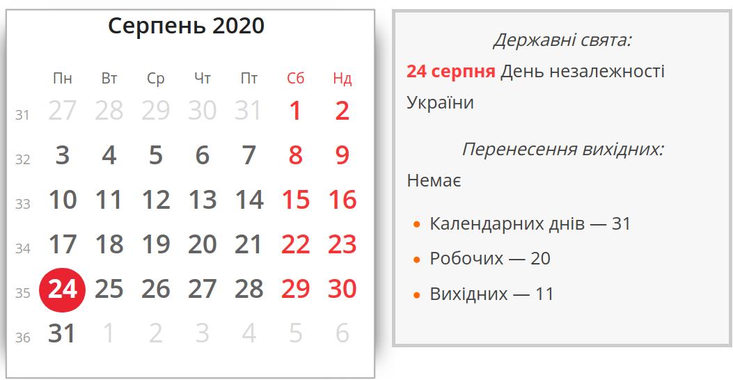 Фото: вихідні у серпні / kalendari.co.ua