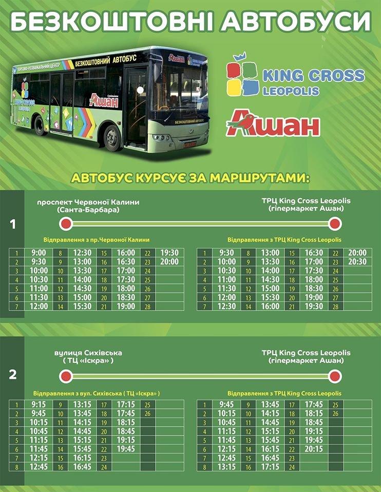 Графік руху безкоштовних автобусів