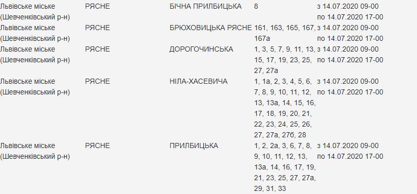 відключення світла у Львові 14 липня