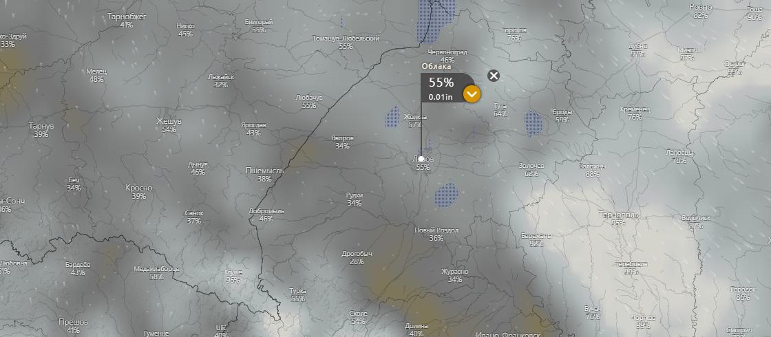 погода у Львові 15 липня, www.windy.com
