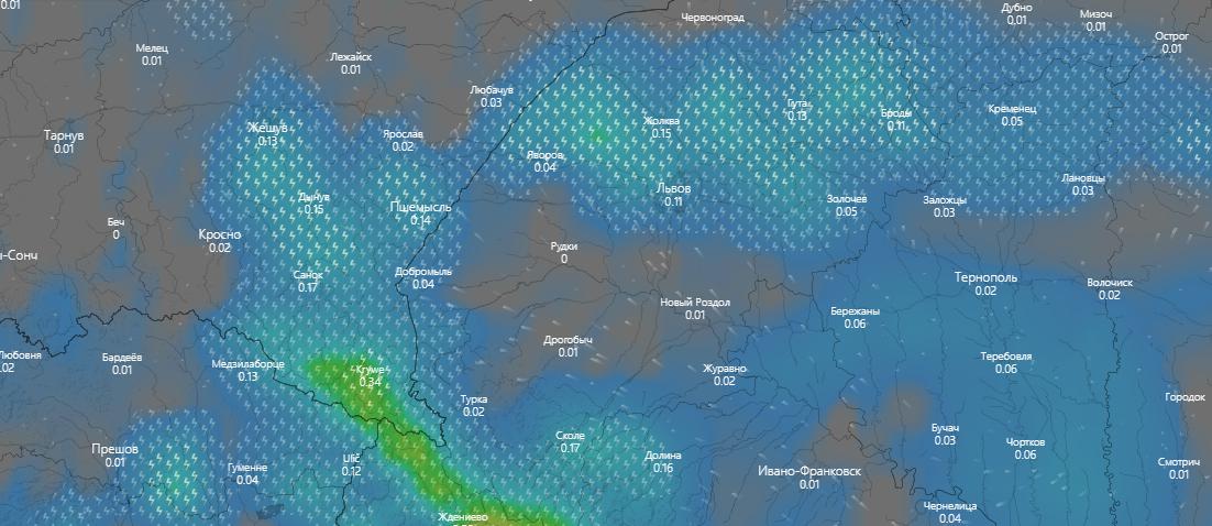 погода у Львові 20 липня, www.windy.com