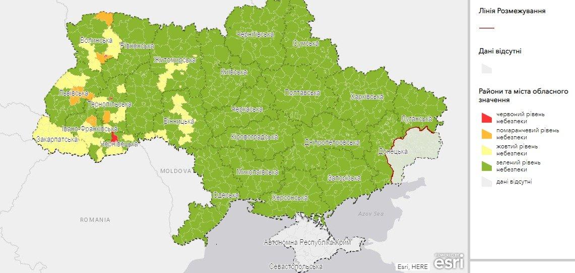Розподіл на зони України. Фото - МОЗ