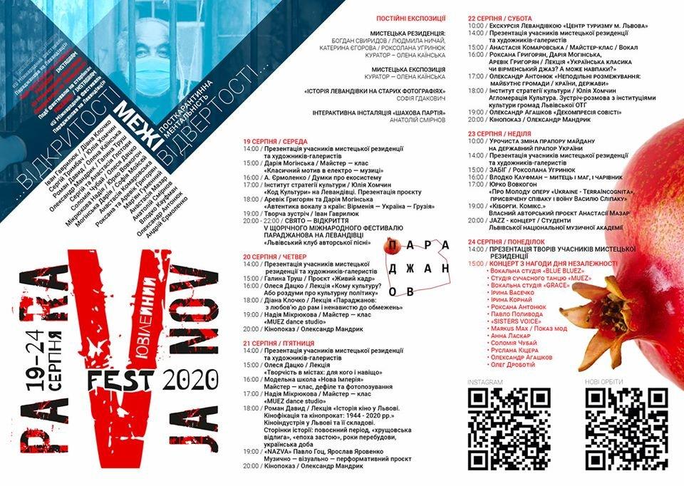 Програма Фестивалю Параджанова 2020