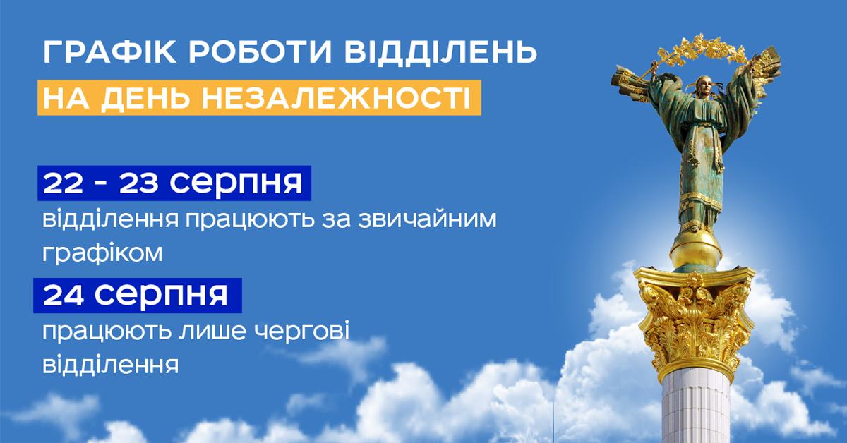 "Графік роботи ""Укрпошти"" на 24 серпня. Фото - facebook.com/ukrposhta"