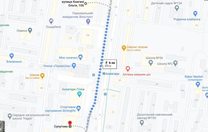 Вулиця Княгині Ольги у Львові, google.com/maps