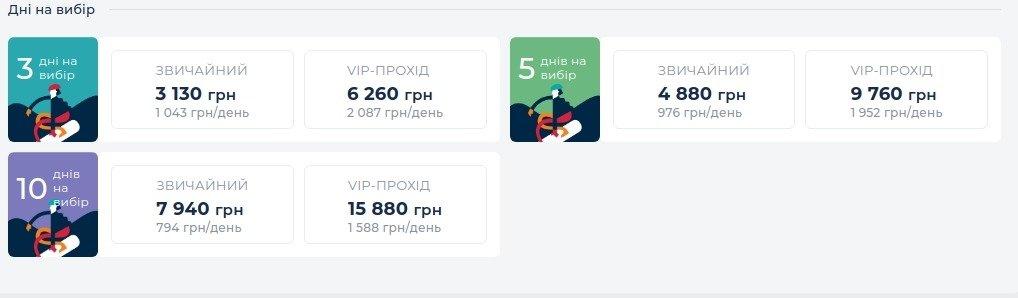 Ціни на катання у Буковелі у 2021 році, Скріншот - 032.ua