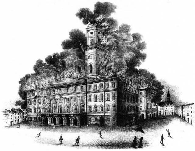 Пожежа у 1848 році. Літографія Й.Риделя, Фото: photo-lviv.in.ua