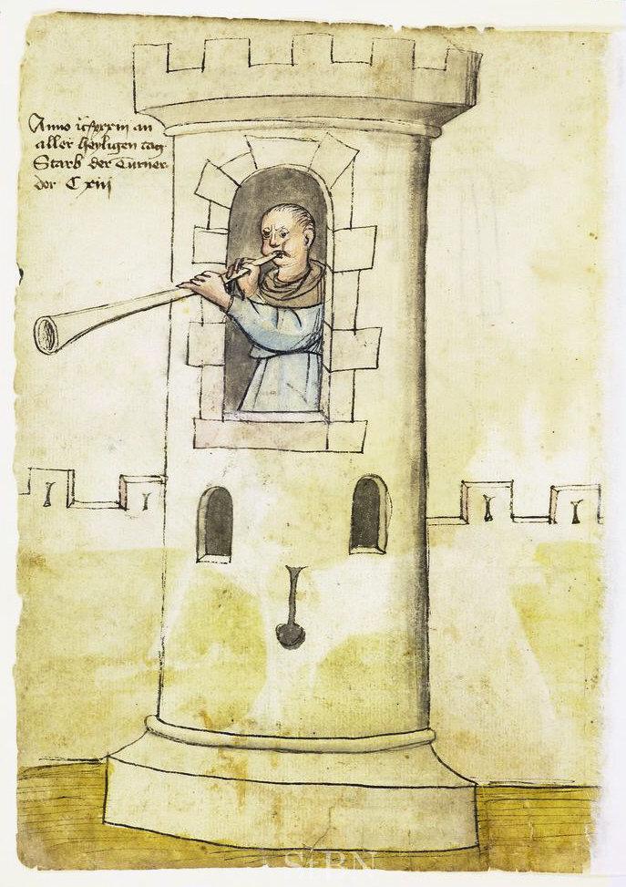 Сурмач на вежі. Малюнок 1433 року, Фото: uk.wikipedia.org