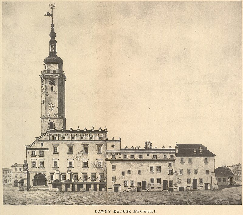 Ратуша перед 1826 р. Малюнок Єжи Глоговського, Фото: uk.wikipedia.org