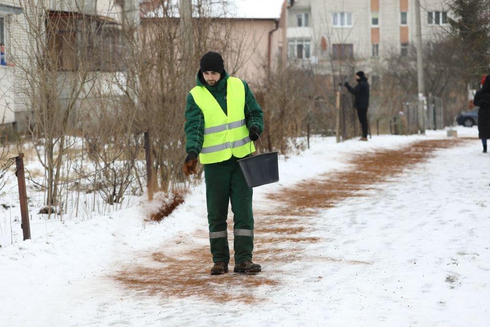 У львівському парку кавовою гущею посипали доріжки, Фото - ЛМР