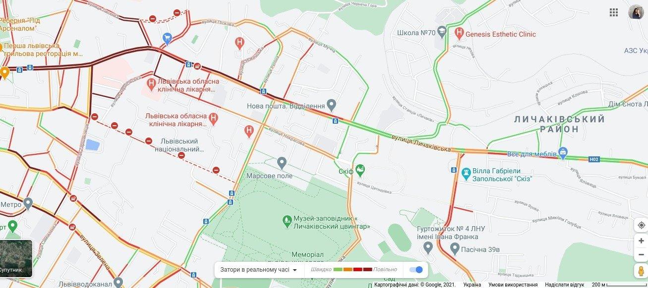 Затори у Личаківському районі Львова, Скріншот - 032.ua