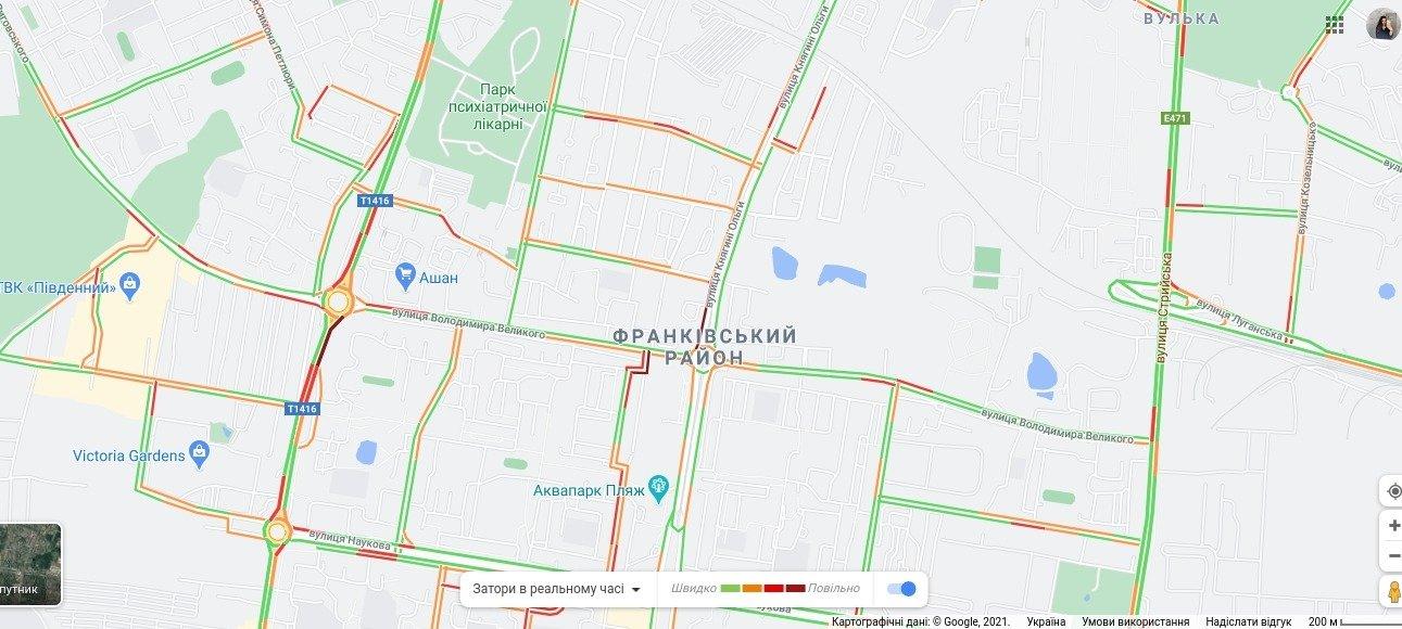 Затори у Франківському районі Львова, Скріншот - 032.ua