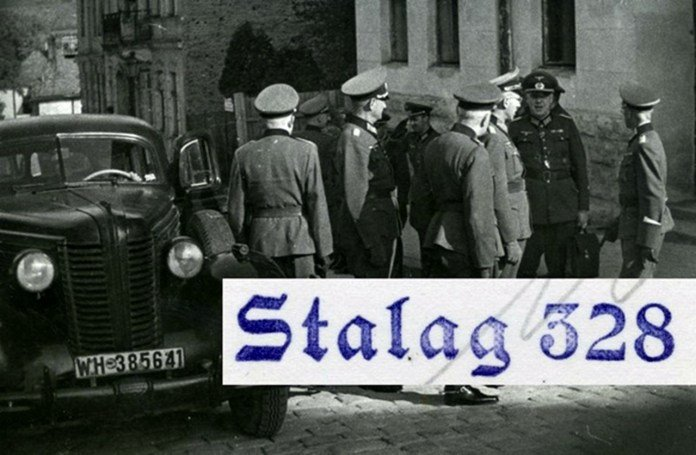 Нацистські офіцери перед входом до табору, Фото: photo-lviv.in.ua