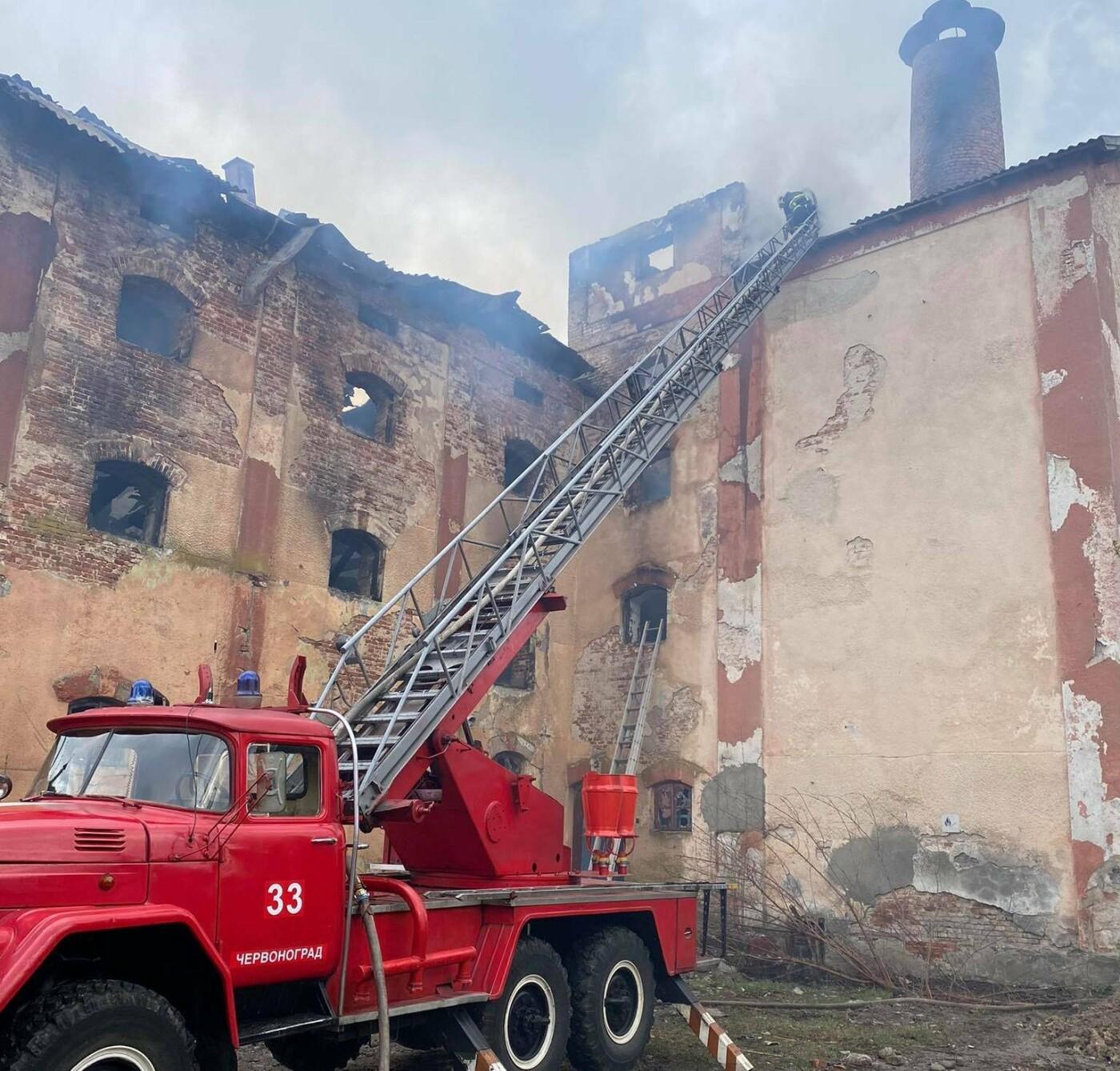 У місті Радехів  горіла будівля колишнього пивзаводу, Фото: ДСНС у Львівській області