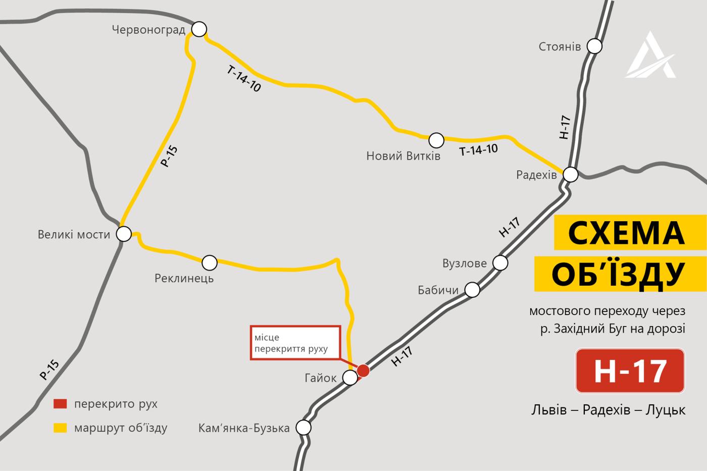 Схема об'їзду моста, Укравтодор