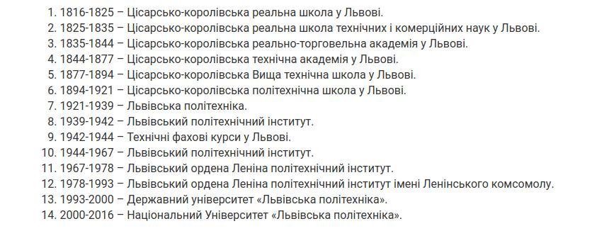 Львівська політехніка змінювала чотирнадцять назв, Знімок екрану: lpnu.ua