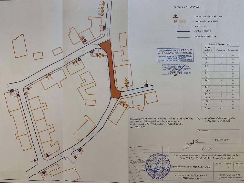 Схема об'їзду вулиці Лісної у Львові, Фото: пресслужби Львівської міськради