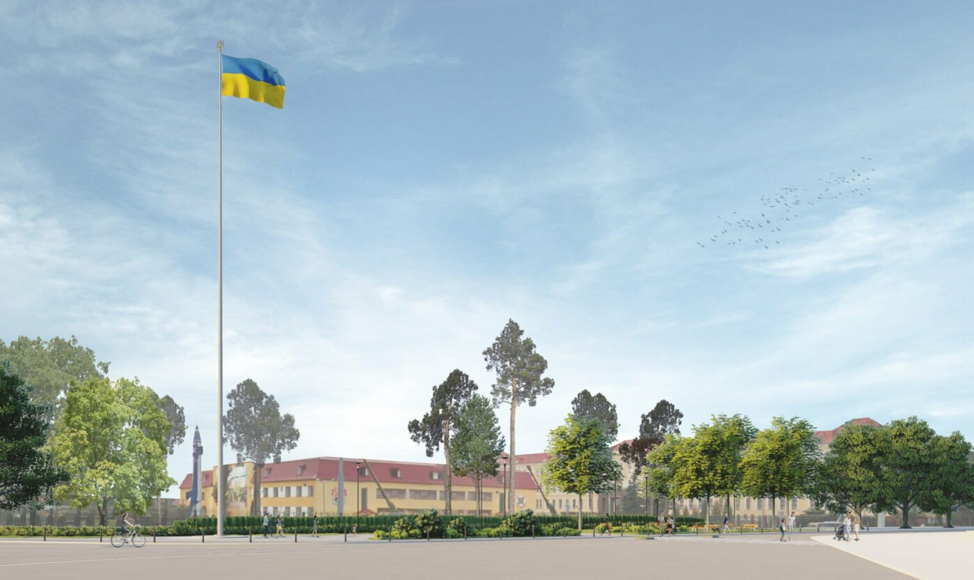 Візулізація майбутнього громадського простору зі флагштоком, Візуалізація: ЛМР